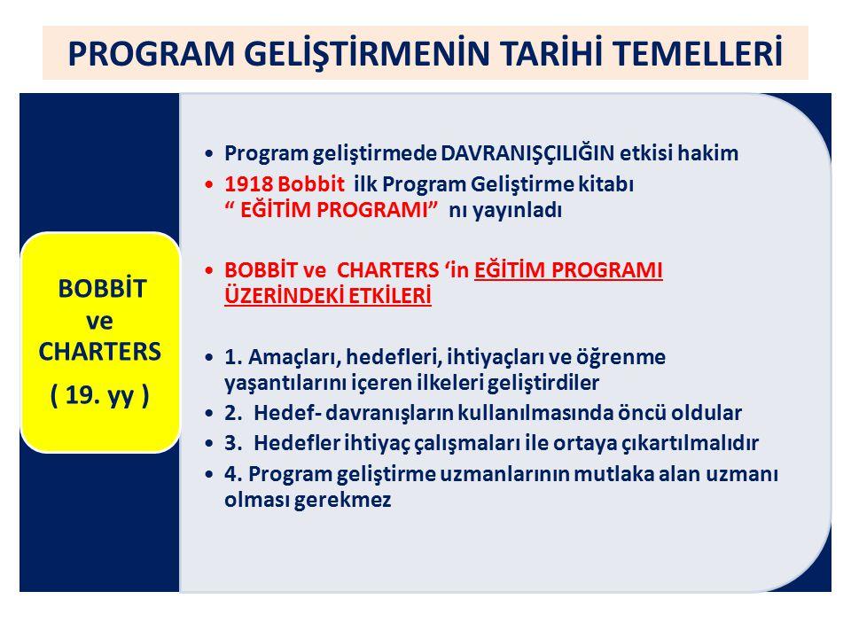PROGRAM GELİŞTİRMENİN TARİHİ TEMELLERİ HEDEFLERİ BELİRLERKEN 1.