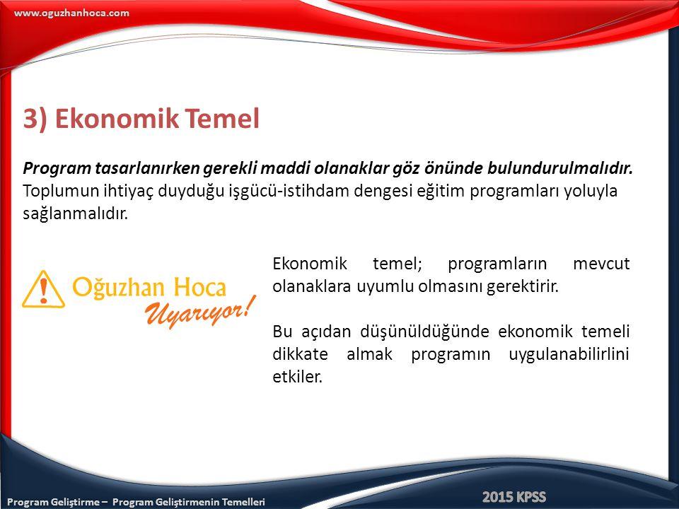 Program Geliştirme – Program Geliştirmenin Temelleri www.oguzhanhoca.com 3) Ekonomik Temel Program tasarlanırken gerekli maddi olanaklar göz önünde bu