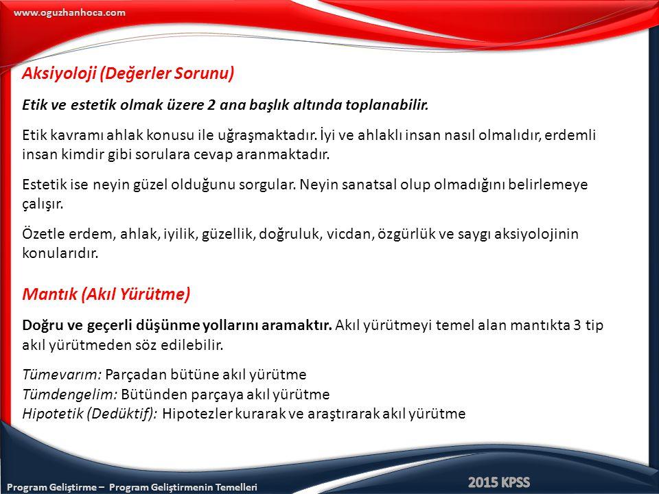 Program Geliştirme – Program Geliştirmenin Temelleri www.oguzhanhoca.com Aksiyoloji (Değerler Sorunu) Etik ve estetik olmak üzere 2 ana başlık altında