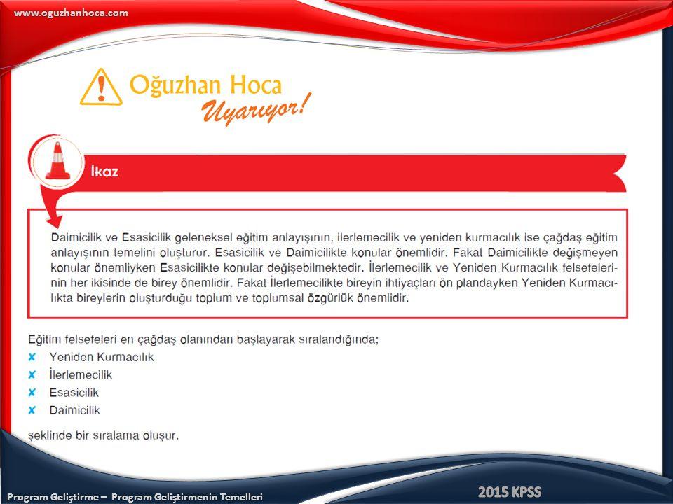 Program Geliştirme – Program Geliştirmenin Temelleri www.oguzhanhoca.com