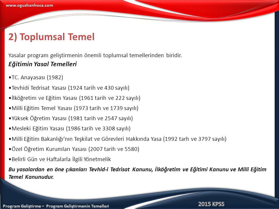 Program Geliştirme – Program Geliştirmenin Temelleri www.oguzhanhoca.com Tevhid-i Tedrisat Kanunu Tevhid-i Tedrisat Kanunu Türk Milli Eğitim sisteminde eğitim programlarının dayandığı toplumsal temellerden biridir.