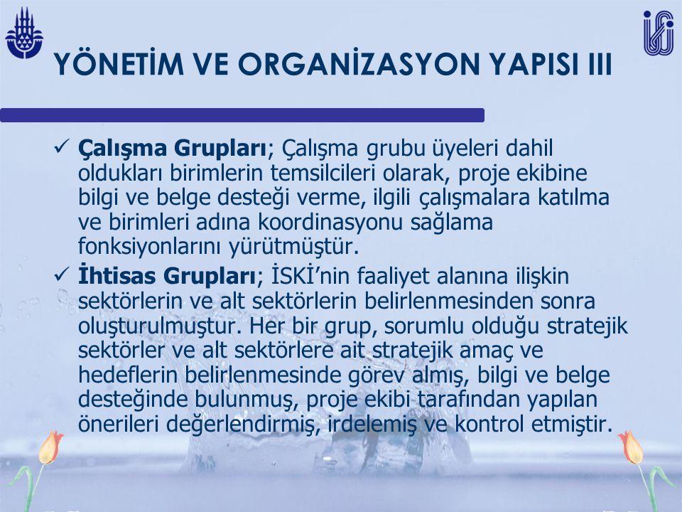 YÖNETİM VE ORGANİZASYON YAPISI III Çalışma Grupları; Çalışma grubu üyeleri dahil oldukları birimlerin temsilcileri olarak, proje ekibine bilgi ve belge desteği verme, ilgili çalışmalara katılma ve birimleri adına koordinasyonu sağlama fonksiyonlarını yürütmüştür.