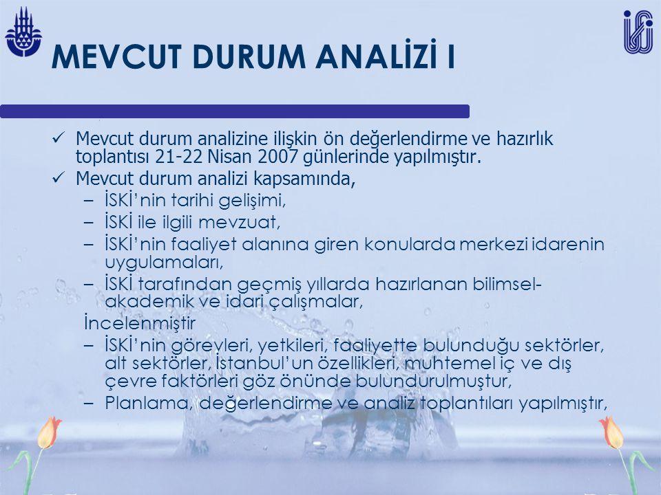 MEVCUT DURUM ANALİZİ I Mevcut durum analizine ilişkin ön değerlendirme ve hazırlık toplantısı 21-22 Nisan 2007 günlerinde yapılmıştır. Mevcut durum an