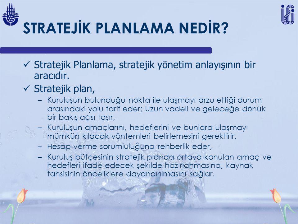 STRATEJİK PLANLAMA NEDİR? Stratejik Planlama, stratejik yönetim anlayışının bir aracıdır. Stratejik plan, –Kuruluşun bulunduğu nokta ile ulaşmayı arzu