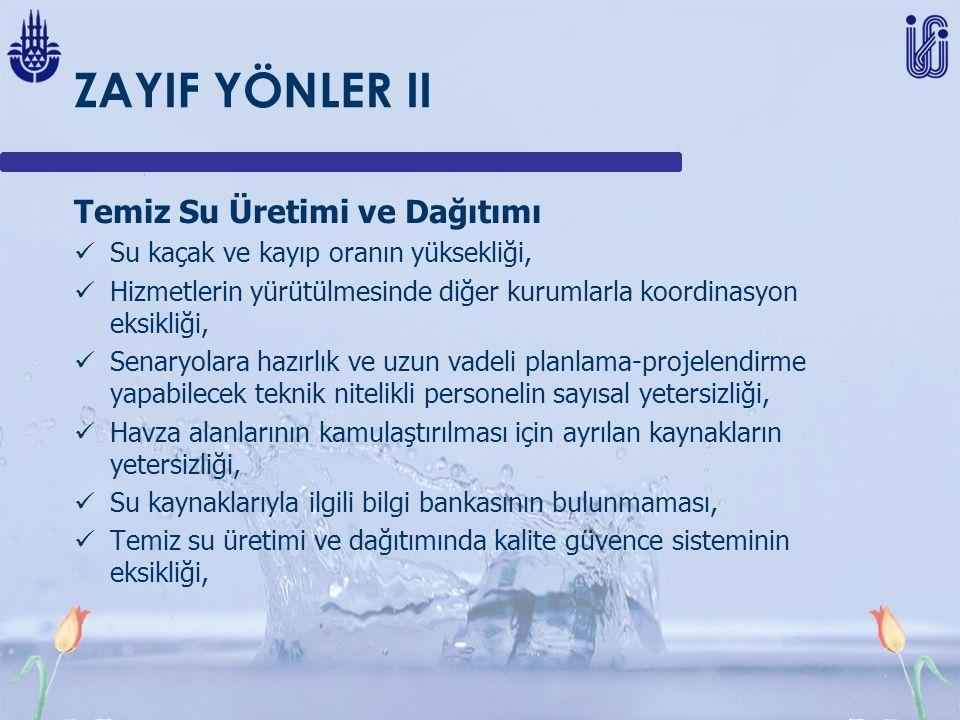 ZAYIF YÖNLER II Temiz Su Üretimi ve Dağıtımı Su kaçak ve kayıp oranın yüksekliği, Hizmetlerin yürütülmesinde diğer kurumlarla koordinasyon eksikliği,