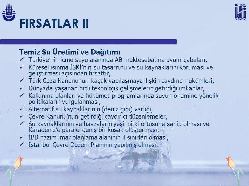 FIRSATLAR II Temiz Su Üretimi ve Dağıtımı Türkiye'nin içme suyu alanında AB müktesebatına uyum çabaları, Küresel ısınma İSKİ'nin su tasarrufu ve su kaynaklarını koruması ve geliştirmesi açısından fırsattır, Türk Ceza Kanununun kaçak yapılaşmaya ilişkin caydırıcı hükümleri, Dünyada yaşanan hızlı teknolojik gelişmelerin getirdiği imkanlar, Kalkınma planları ve hükümet programlarında suyun önemine yönelik politikaların vurgulanması, Alternatif su kaynaklarının (deniz gibi) varlığı, Çevre Kanunu'nun getirdiği caydırıcı düzenlemeler, Su kaynaklarının ve havzaların yeşil bitki örtüsüne sahip olması ve Karadeniz'e paralel geniş bir kuşak oluşturması, İBB nazım imar planlama alanının il sınırları olması, İstanbul Çevre Düzeni Planının yapılmış olması,