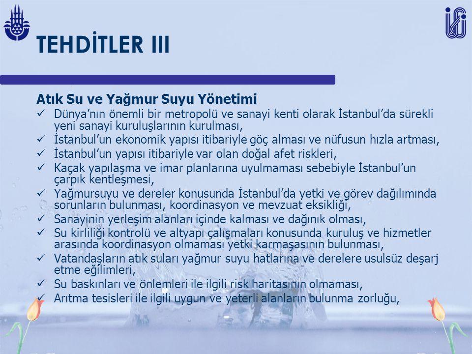 TEHDİTLER III Atık Su ve Yağmur Suyu Yönetimi Dünya'nın önemli bir metropolü ve sanayi kenti olarak İstanbul'da sürekli yeni sanayi kuruluşlarının kurulması, İstanbul'un ekonomik yapısı itibariyle göç alması ve nüfusun hızla artması, İstanbul'un yapısı itibariyle var olan doğal afet riskleri, Kaçak yapılaşma ve imar planlarına uyulmaması sebebiyle İstanbul'un çarpık kentleşmesi, Yağmursuyu ve dereler konusunda İstanbul'da yetki ve görev dağılımında sorunların bulunması, koordinasyon ve mevzuat eksikliği, Sanayinin yerleşim alanları içinde kalması ve dağınık olması, Su kirliliği kontrolü ve altyapı çalışmaları konusunda kuruluş ve hizmetler arasında koordinasyon olmaması yetki karmaşasının bulunması, Vatandaşların atık suları yağmur suyu hatlarına ve derelere usulsüz deşarj etme eğilimleri, Su baskınları ve önlemleri ile ilgili risk haritasının olmaması, Arıtma tesisleri ile ilgili uygun ve yeterli alanların bulunma zorluğu,