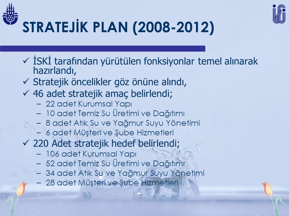 STRATEJİK PLAN (2008-2012) İSKİ tarafından yürütülen fonksiyonlar temel alınarak hazırlandı, Stratejik öncelikler göz önüne alındı, 46 adet stratejik