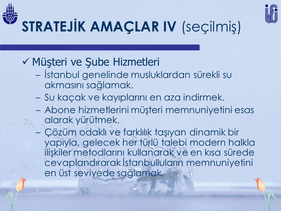 STRATEJİK AMAÇLAR IV (seçilmiş) Müşteri ve Şube Hizmetleri –İstanbul genelinde musluklardan sürekli su akmasını sağlamak. –Su kaçak ve kayıplarını en