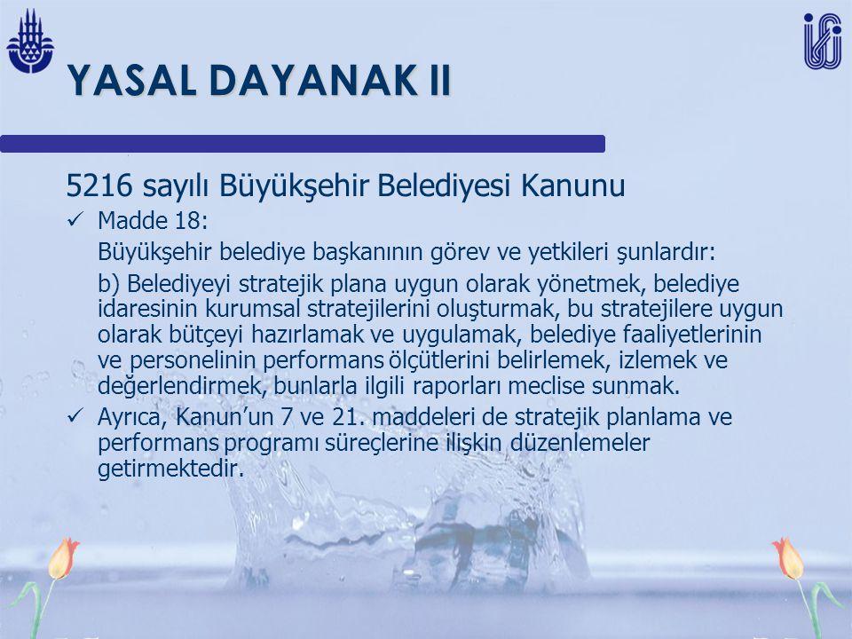 YASAL DAYANAK II 5216 sayılı Büyükşehir Belediyesi Kanunu Madde 18: Büyükşehir belediye başkanının görev ve yetkileri şunlardır: b) Belediyeyi stratejik plana uygun olarak yönetmek, belediye idaresinin kurumsal stratejilerini oluşturmak, bu stratejilere uygun olarak bütçeyi hazırlamak ve uygulamak, belediye faaliyetlerinin ve personelinin performans ölçütlerini belirlemek, izlemek ve değerlendirmek, bunlarla ilgili raporları meclise sunmak.