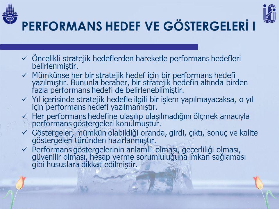 PERFORMANS HEDEF VE GÖSTERGELERİ I Öncelikli stratejik hedeflerden hareketle performans hedefleri belirlenmiştir. Mümkünse her bir stratejik hedef içi