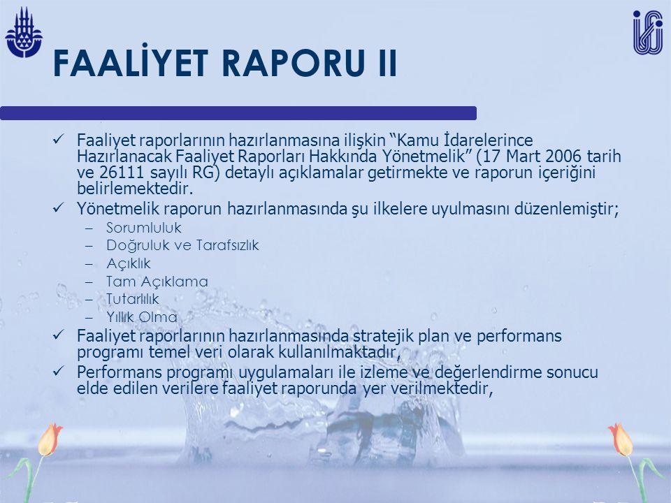 FAALİYET RAPORU II Faaliyet raporlarının hazırlanmasına ilişkin Kamu İdarelerince Hazırlanacak Faaliyet Raporları Hakkında Yönetmelik (17 Mart 2006 tarih ve 26111 sayılı RG) detaylı açıklamalar getirmekte ve raporun içeriğini belirlemektedir.