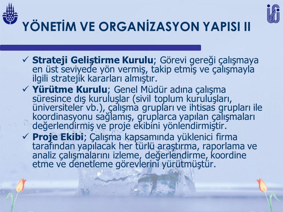 YÖNETİM VE ORGANİZASYON YAPISI II Strateji Geliştirme Kurulu; Görevi gereği çalışmaya en üst seviyede yön vermiş, takip etmiş ve çalışmayla ilgili stratejik kararları almıştır.