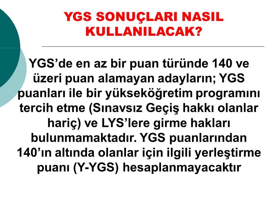 YGS'de en az bir puan türünde 140 ve üzeri puan alamayan adayların; YGS puanları ile bir yükseköğretim programını tercih etme (Sınavsız Geçiş hakkı ol
