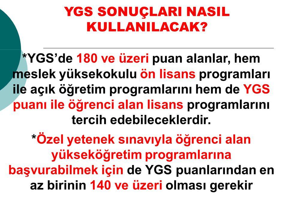 *YGS'de 180 ve üzeri puan alanlar, hem meslek yüksekokulu ön lisans programları ile açık öğretim programlarını hem de YGS puanı ile öğrenci alan lisan