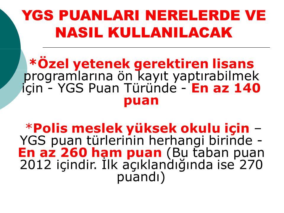 *Özel yetenek gerektiren lisans programlarına ön kayıt yaptırabilmek için - YGS Puan Türünde - En az 140 puan *Polis meslek yüksek okulu için – YGS pu