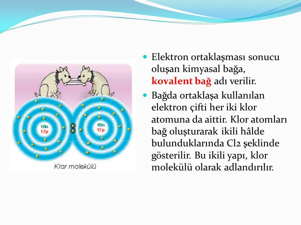 Elektron ortaklaşması sonucu oluşan kimyasal bağa, kovalent bağ adı verilir. Bağda ortaklaşa kullanılan elektron çifti her iki klor atomuna da aittir.