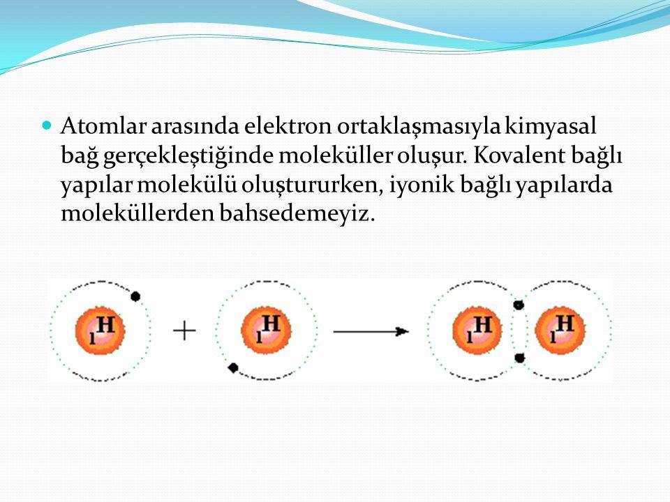 Atomlar arasında elektron ortaklaşmasıyla kimyasal bağ gerçekleştiğinde moleküller oluşur. Kovalent bağlı yapılar molekülü oluştururken, iyonik bağlı