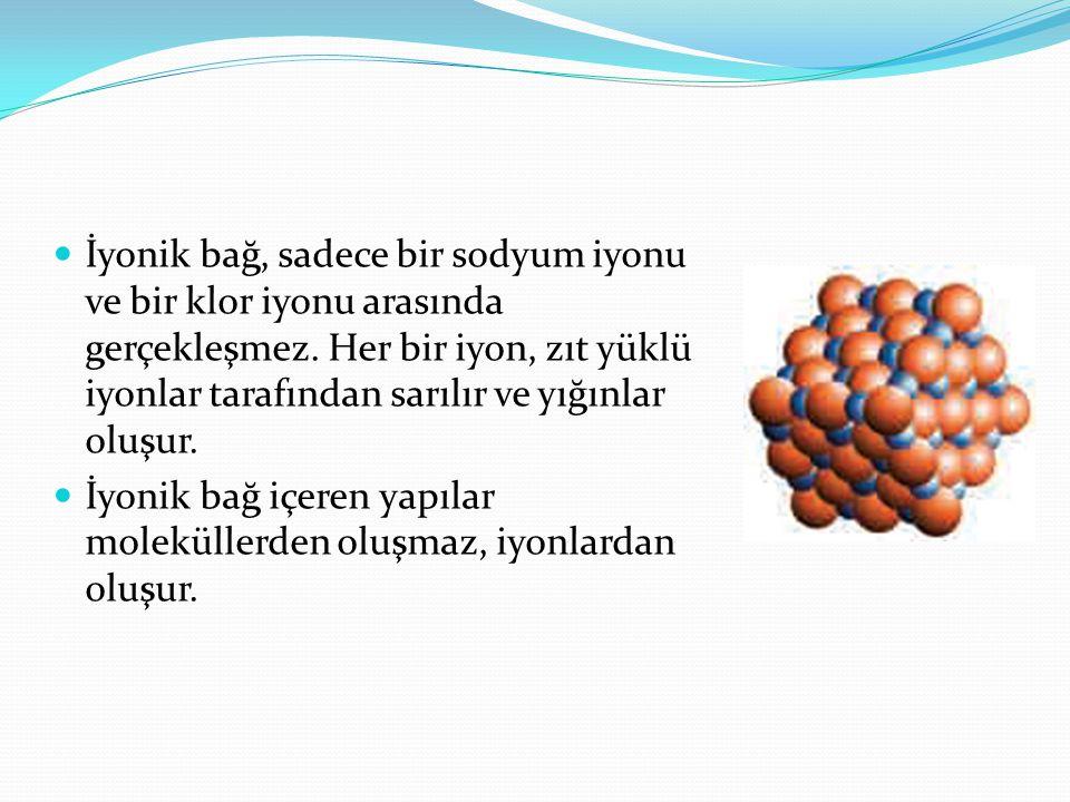 İyonik bağ, sadece bir sodyum iyonu ve bir klor iyonu arasında gerçekleşmez. Her bir iyon, zıt yüklü iyonlar tarafından sarılır ve yığınlar oluşur. İy