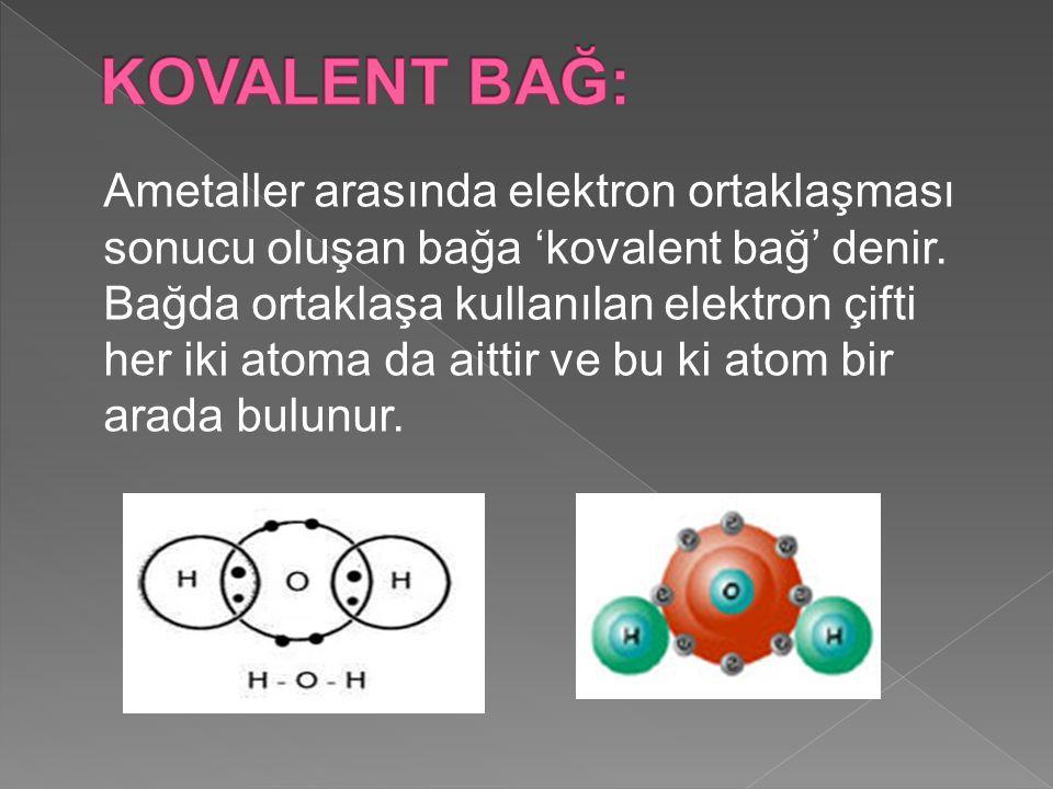 Ametaller arasında elektron ortaklaşması sonucu oluşan bağa 'kovalent bağ' denir.
