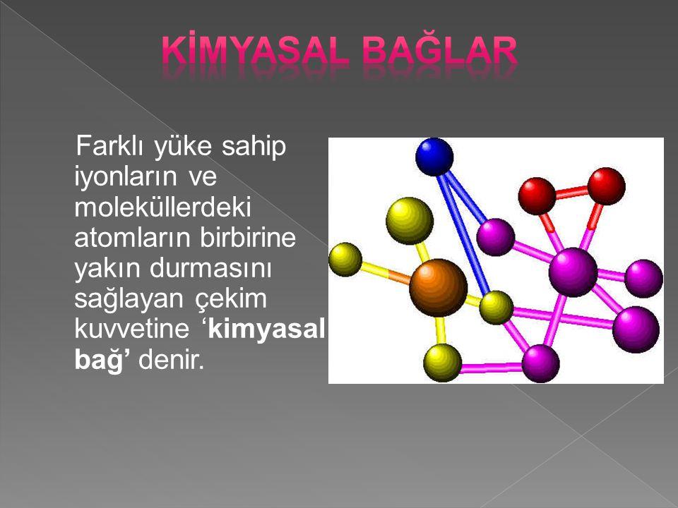 Farklı yüke sahip iyonların ve moleküllerdeki atomların birbirine yakın durmasını sağlayan çekim kuvvetine 'kimyasal bağ' denir.