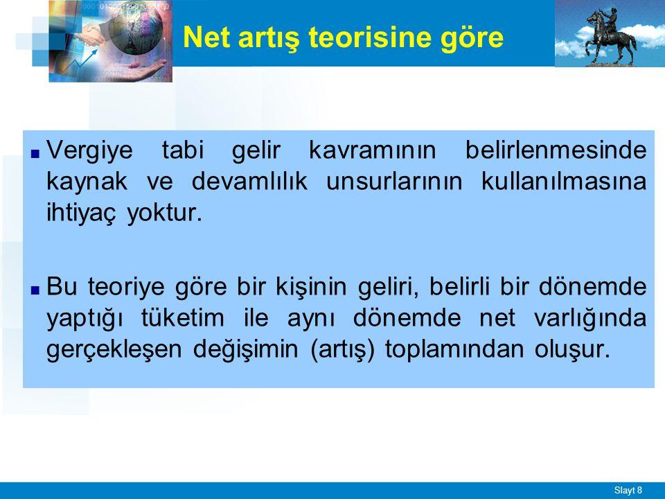 Slayt 9 ■ Yapılan düzenlemelerle Türk Vergi Sistemi'nde, ödeme gücüne göre vergilendirme ilkesinden hareketle, satın alma gücü yaratan her türlü değer akımının vergilendirilmesi amaçlanmıştır.