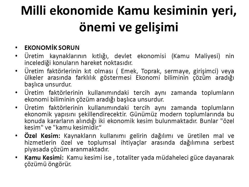 Milli ekonomide Kamu kesiminin yeri, önemi ve gelişimi EKONOMİK SORUN Üretim kaynaklarının kıtlığı, devlet ekonomisi (Kamu Maliyesi) nin incelediği ko