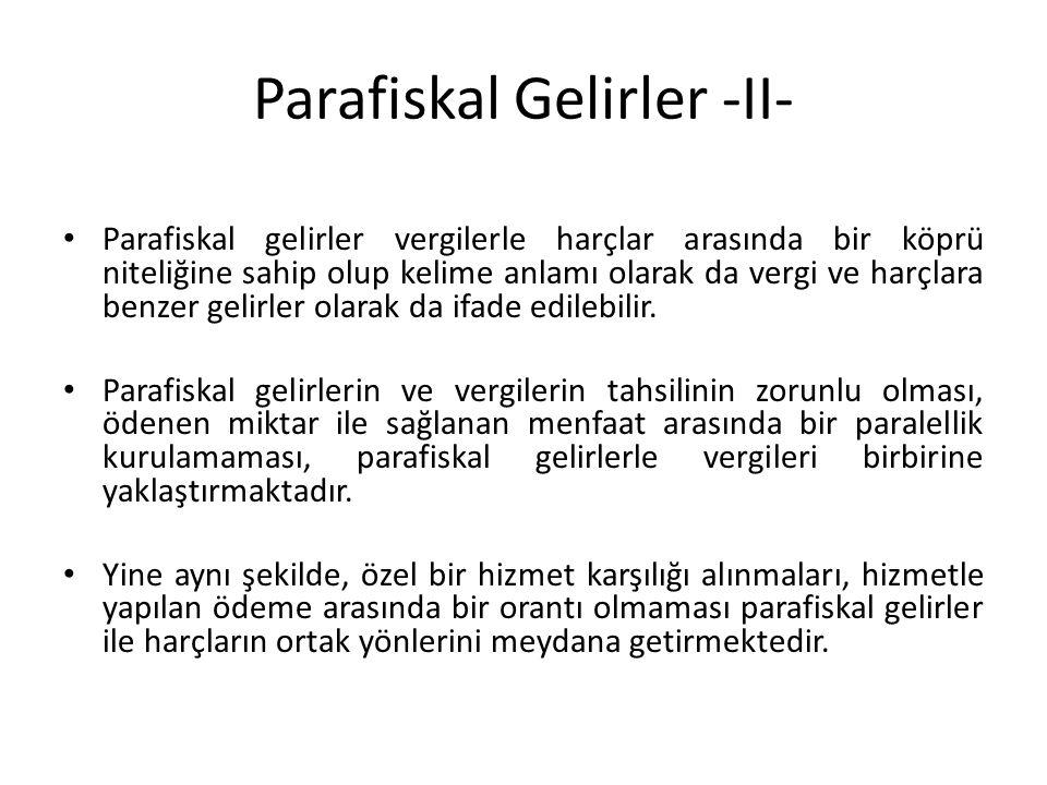 Parafiskal Gelirler -II- Parafiskal gelirler vergilerle harçlar arasında bir köprü niteliğine sahip olup kelime anlamı olarak da vergi ve harçlara benzer gelirler olarak da ifade edilebilir.