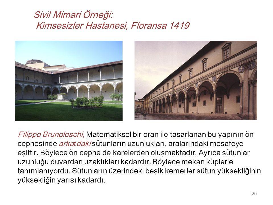 Sivil Mimari Örneği: Kimsesizler Hastanesi, Floransa 1419 Filippo Brunoleschi, Matematiksel bir oran ile tasarlanan bu yapının ön cephesinde arka t daki sütunların uzunlukları, aralarındaki mesafeye eşittir.