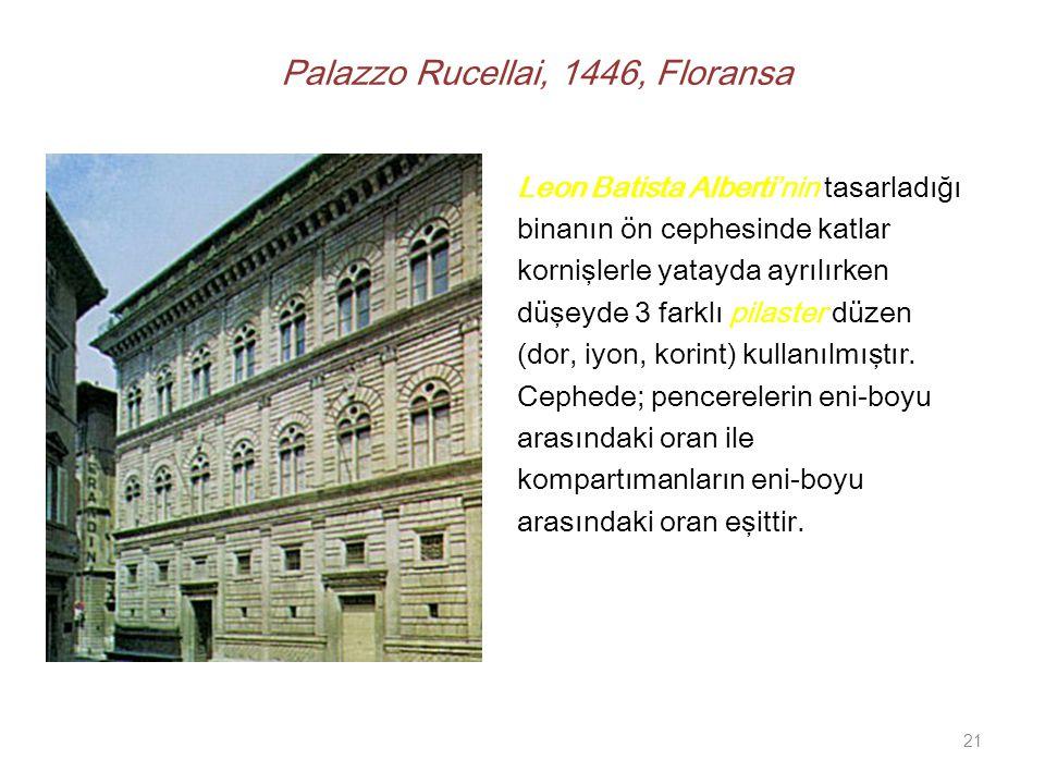 Palazzo Rucellai, 1446, Floransa Leon Batista Alberti'nin tasarladığı binanın ön cephesinde katlar kornişlerle yatayda ayrılırken düşeyde 3 farklı pilaster düzen (dor, iyon, korint) kullanılmıştır.