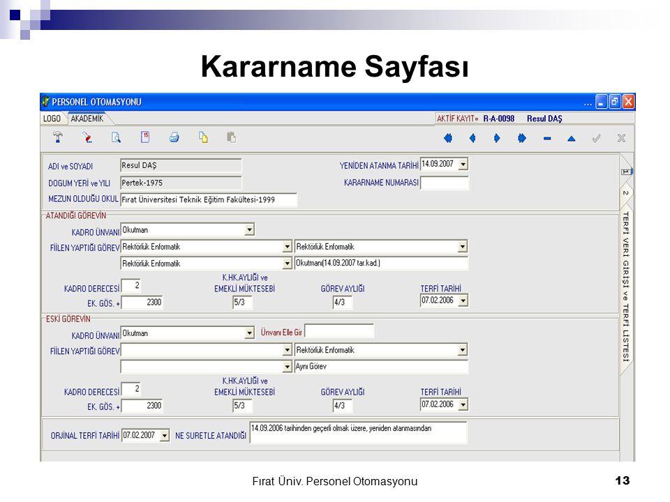Fırat Üniv. Personel Otomasyonu13 Kararname Sayfası