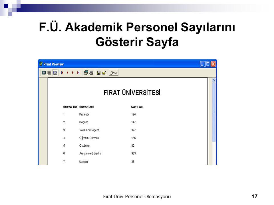 Fırat Üniv. Personel Otomasyonu17 F.Ü. Akademik Personel Sayılarını Gösterir Sayfa