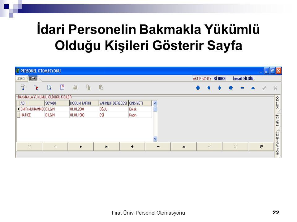 Fırat Üniv. Personel Otomasyonu22 İdari Personelin Bakmakla Yükümlü Olduğu Kişileri Gösterir Sayfa