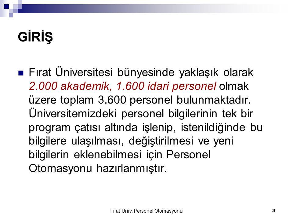 Fırat Üniv. Personel Otomasyonu3 GİRİŞ Fırat Üniversitesi bünyesinde yaklaşık olarak 2.000 akademik, 1.600 idari personel olmak üzere toplam 3.600 per