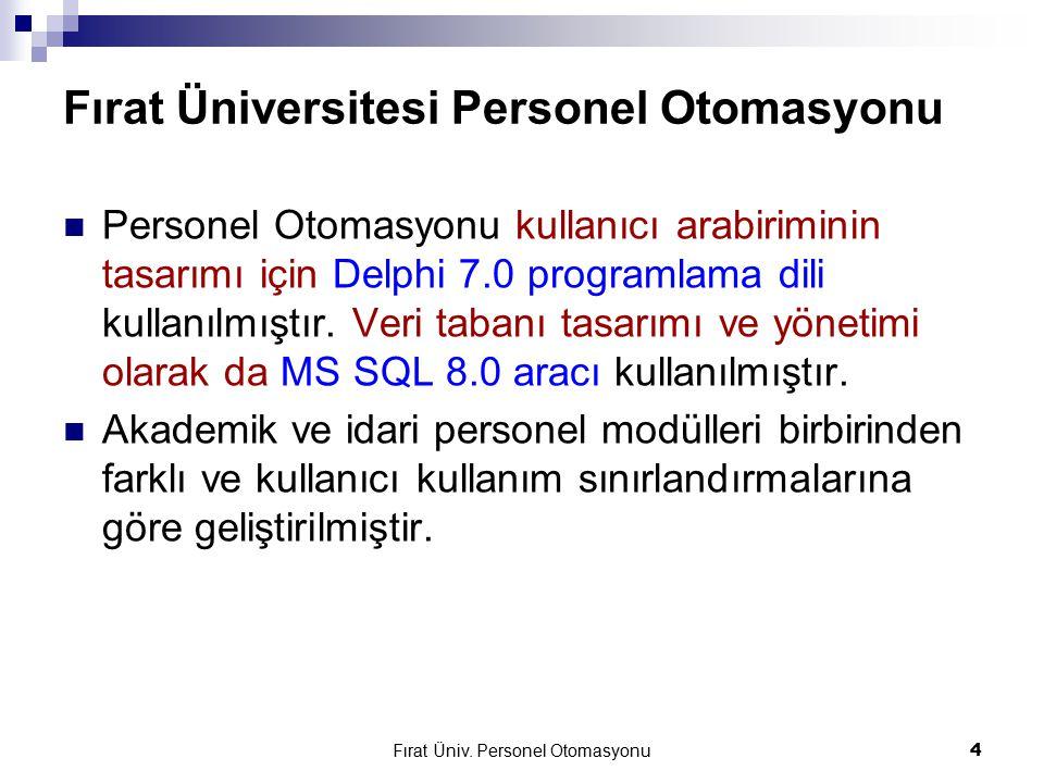 Fırat Üniv. Personel Otomasyonu4 Fırat Üniversitesi Personel Otomasyonu Personel Otomasyonu kullanıcı arabiriminin tasarımı için Delphi 7.0 programlam