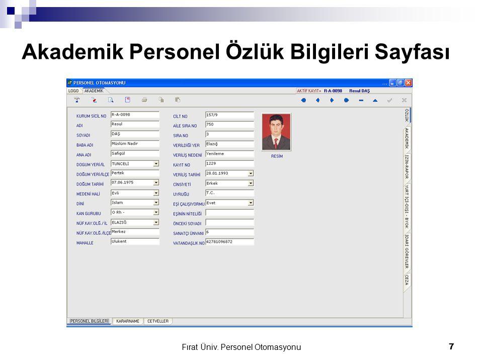 Fırat Üniv. Personel Otomasyonu7 Akademik Personel Özlük Bilgileri Sayfası