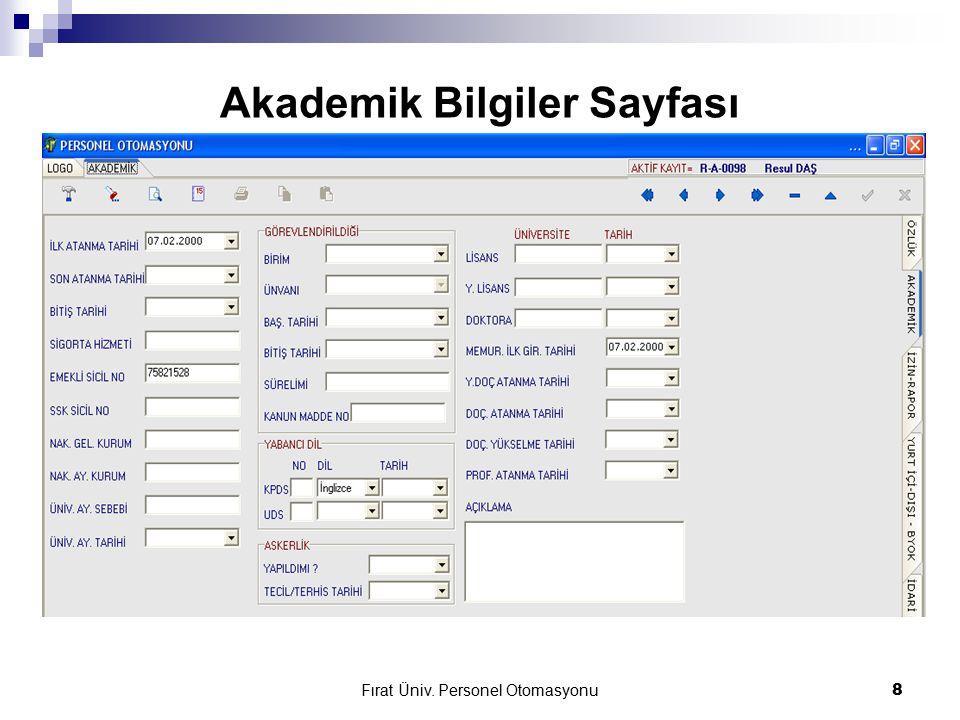 Fırat Üniv. Personel Otomasyonu19 İdari Personel Özlük Bilgileri Sayfası