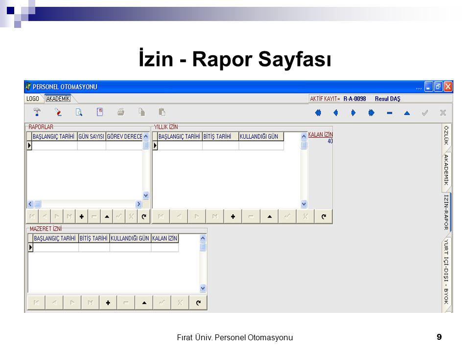 Fırat Üniv. Personel Otomasyonu9 İzin - Rapor Sayfası