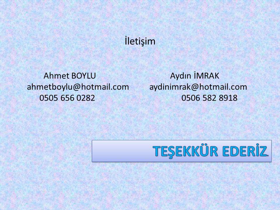 İletişim Ahmet BOYLU Aydın İMRAK ahmetboylu@hotmail.com aydinimrak@hotmail.com 0505 656 0282 0506 582 8918