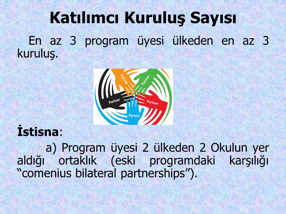 Katılımcı Kuruluş Sayısı En az 3 program üyesi ülkeden en az 3 kuruluş. İstisna: a) Program üyesi 2 ülkeden 2 Okulun yer aldığı ortaklık (eski program