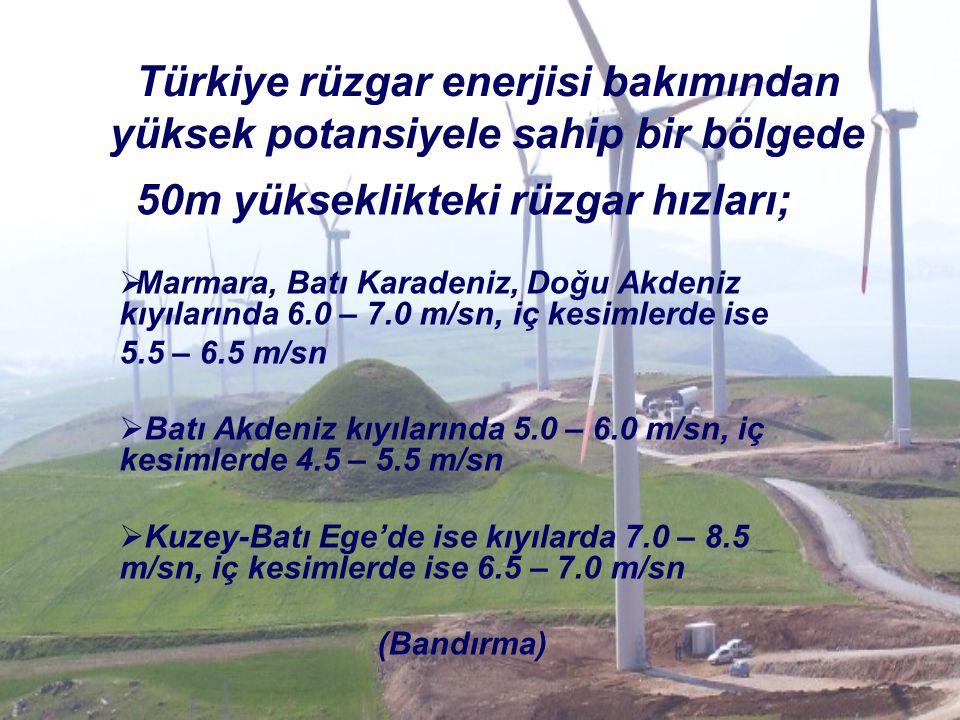 Türkiye rüzgar enerjisi bakımından yüksek potansiyele sahip bir bölgede 50m yükseklikteki rüzgar hızları;  Marmara, Batı Karadeniz, Doğu Akdeniz kıyı