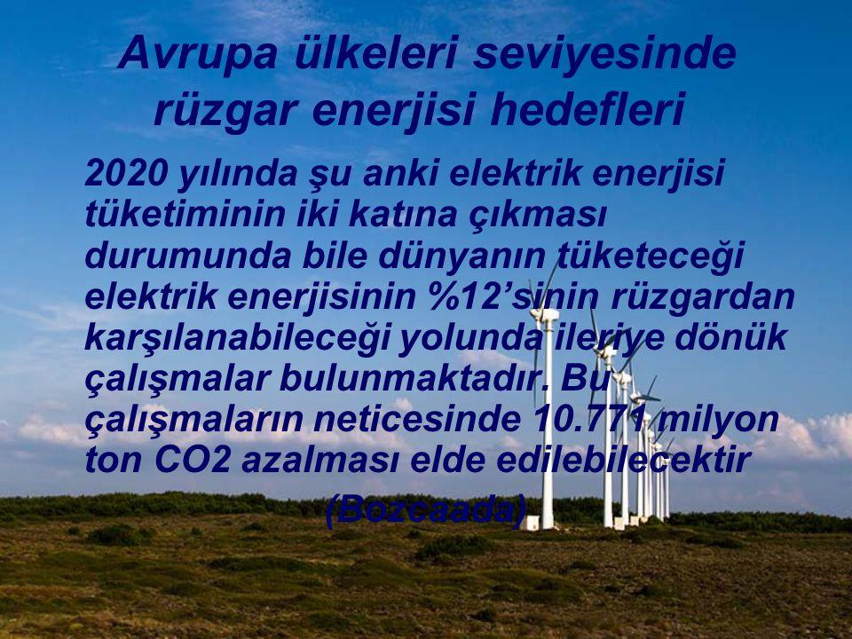 Avrupa ülkeleri seviyesinde rüzgar enerjisi hedefleri 2020 yılında şu anki elektrik enerjisi tüketiminin iki katına çıkması durumunda bile dünyanın tü