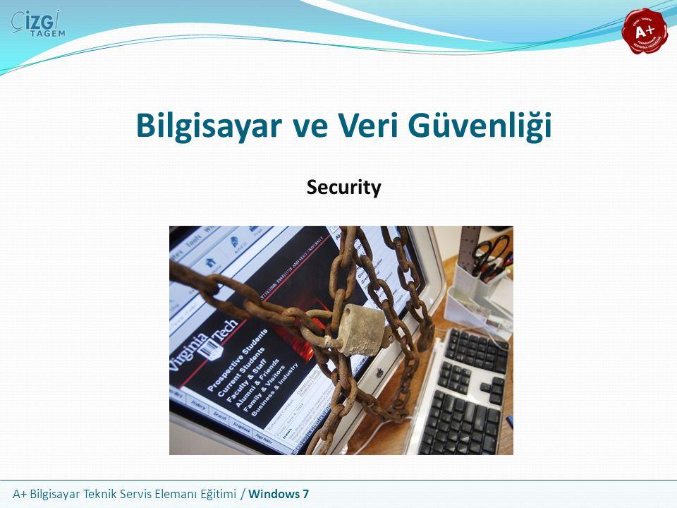 A+ Bilgisayar Teknik Servis Elemanı Eğitimi / Windows 7 Temel Kavramlar Veri güvenliği, disk, iletişim ağı, yedekleme ünitesi ya da başka bir yerde tutulan verilerin, programların ve her türlü bilginin korunmasını ifade eder Veri güvenliğinin 3 ana boyutu vardır: Fiziksel güvenlik; çalınma ve dış etkenlerden dolayı hasar görme Bilgisayar güvenliği; yerel erişim yetkileri ve sistem hataları İletişim güvenliği; ağ ve internet tehditleri