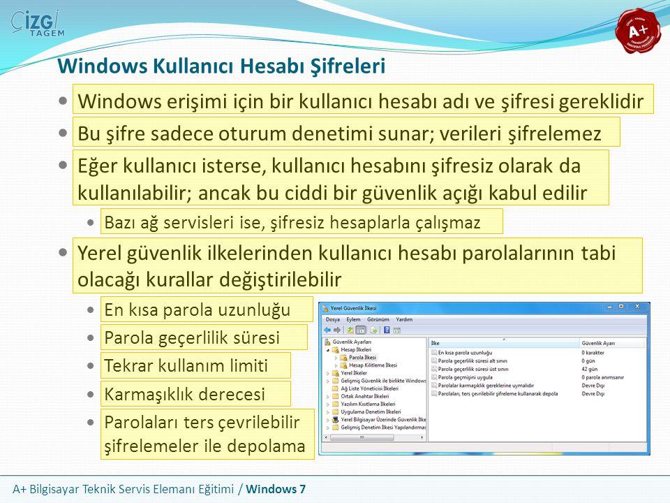 A+ Bilgisayar Teknik Servis Elemanı Eğitimi / Windows 7 Windows Kullanıcı Hesabı Şifreleri Windows erişimi için bir kullanıcı hesabı adı ve şifresi ge