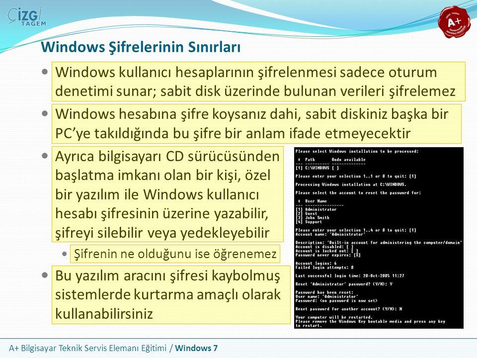 A+ Bilgisayar Teknik Servis Elemanı Eğitimi / Windows 7 Windows Şifrelerinin Sınırları Windows kullanıcı hesaplarının şifrelenmesi sadece oturum denet