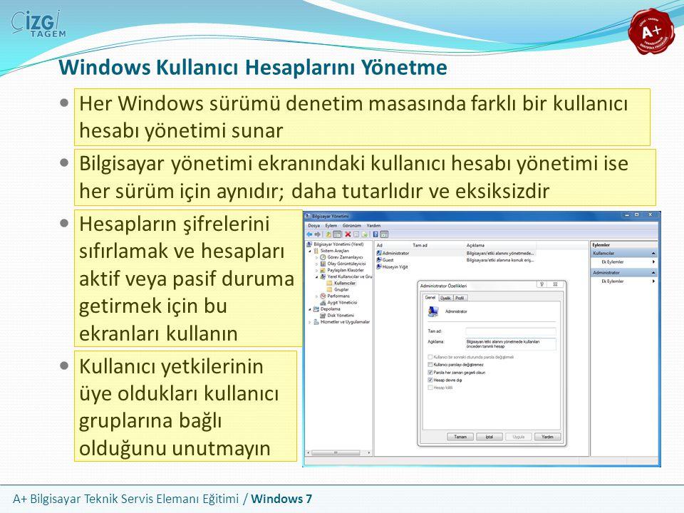 A+ Bilgisayar Teknik Servis Elemanı Eğitimi / Windows 7 Windows Kullanıcı Hesaplarını Yönetme Her Windows sürümü denetim masasında farklı bir kullanıc