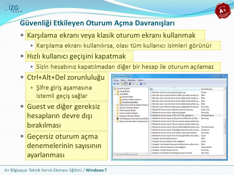A+ Bilgisayar Teknik Servis Elemanı Eğitimi / Windows 7 Güvenliği Etkileyen Oturum Açma Davranışları Karşılama ekranı veya klasik oturum ekranı kullan