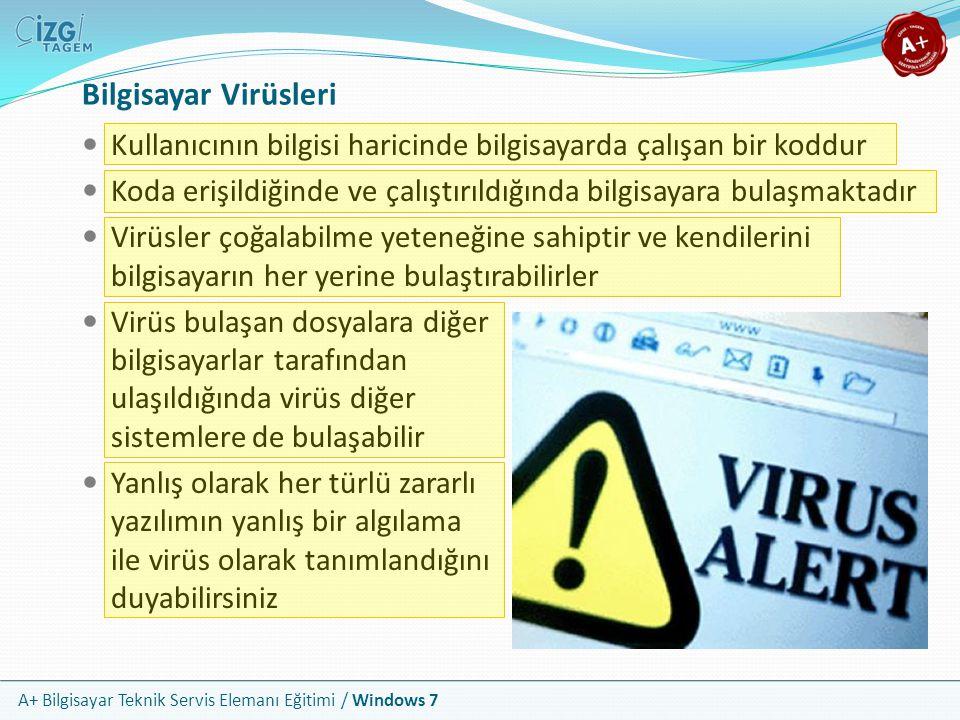 A+ Bilgisayar Teknik Servis Elemanı Eğitimi / Windows 7 Bilgisayar Virüsleri Kullanıcının bilgisi haricinde bilgisayarda çalışan bir koddur Koda erişi