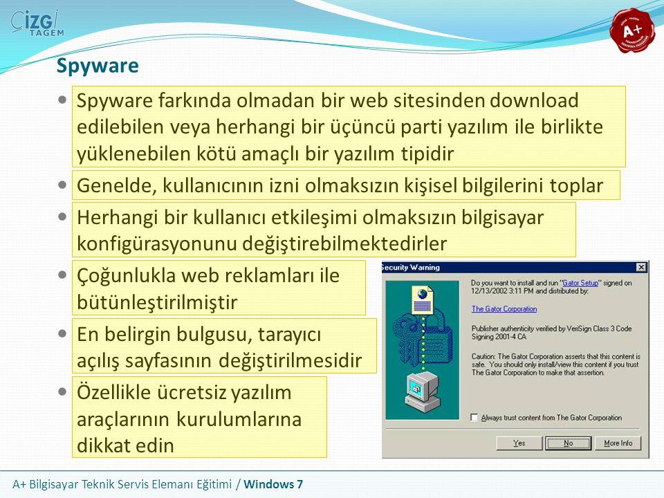 A+ Bilgisayar Teknik Servis Elemanı Eğitimi / Windows 7 Spyware Spyware farkında olmadan bir web sitesinden download edilebilen veya herhangi bir üçün