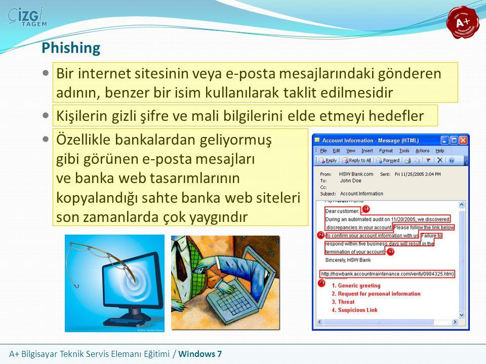 A+ Bilgisayar Teknik Servis Elemanı Eğitimi / Windows 7 Phishing Bir internet sitesinin veya e-posta mesajlarındaki gönderen adının, benzer bir isim k